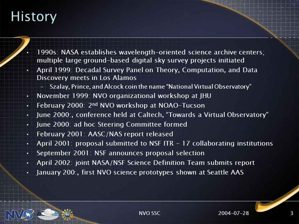 2004-07-28NVO SSC3 History 1990s: NASA establishes wavelength-oriented science archive centers; multiple large ground-based digital sky survey project