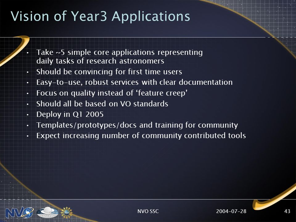 2004-07-28NVO SSC43 Vision of Year3 Applications Take ~5 simple core applications representing daily tasks of research astronomers Should be convincin
