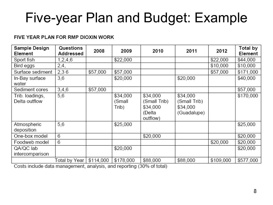8 Five-year Plan and Budget: Example