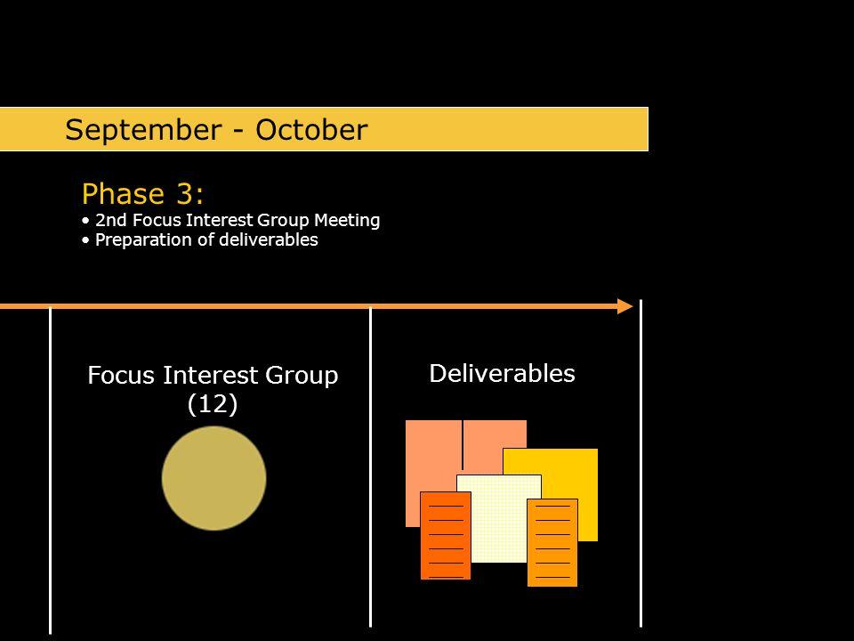 Focus Interest Group (12) Phase 3: 2nd Focus Interest Group Meeting Preparation of deliverables September - October Deliverables