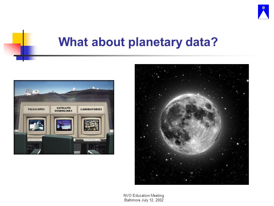NVO Education Meeting Baltimore July 12, 2002 What about planetary data