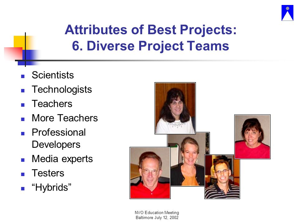 NVO Education Meeting Baltimore July 12, 2002 Attributes of Best Projects: 6.