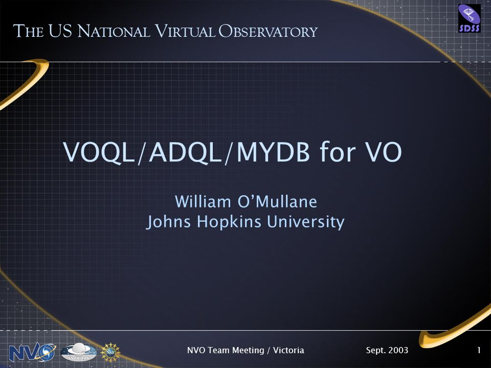 Sept. 2003NVO Team Meeting / Victoria1 VOQL/ADQL/MYDB for VO William OMullane Johns Hopkins University T HE US N ATIONAL V IRTUAL O BSERVATORY