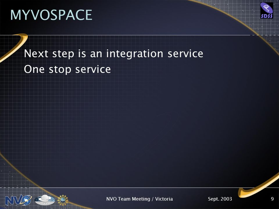 Sept. 2003NVO Team Meeting / Victoria9 MYVOSPACE Next step is an integration service One stop service