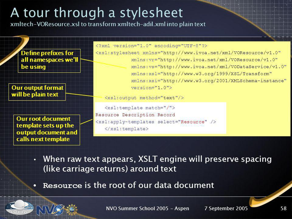 7 September 2005NVO Summer School 2005 - Aspen58 A tour through a stylesheet xmltech-VOResource.xsl to transform xmltech-adil.xml into plain text When