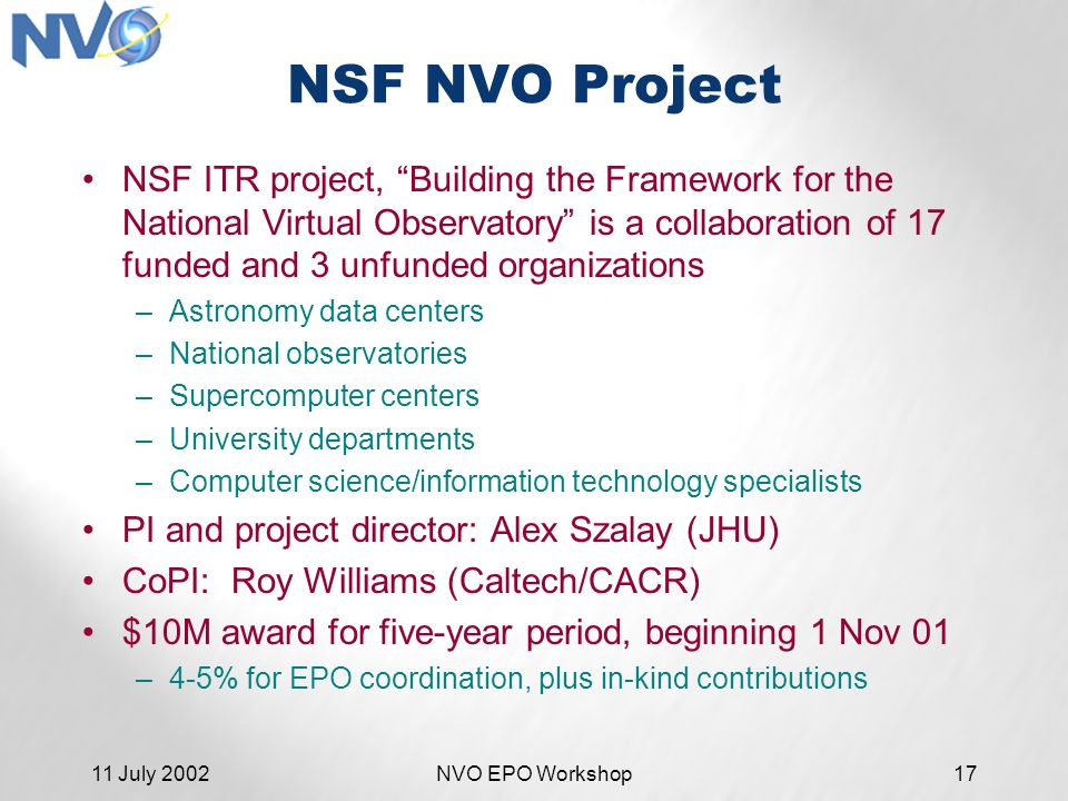 11 July 2002NVO EPO Workshop17 NSF NVO Project NSF ITR project, Building the Framework for the National Virtual Observatory is a collaboration of 17 funded and 3 unfunded organizations –Astronomy data centers –National observatories –Supercomputer centers –University departments –Computer science/information technology specialists PI and project director: Alex Szalay (JHU) CoPI: Roy Williams (Caltech/CACR) $10M award for five-year period, beginning 1 Nov 01 –4-5% for EPO coordination, plus in-kind contributions