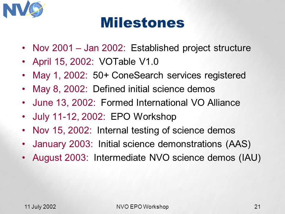 11 July 2002NVO EPO Workshop21 Milestones Nov 2001 – Jan 2002: Established project structure April 15, 2002: VOTable V1.0 May 1, 2002: 50+ ConeSearch services registered May 8, 2002: Defined initial science demos June 13, 2002: Formed International VO Alliance July 11-12, 2002: EPO Workshop Nov 15, 2002: Internal testing of science demos January 2003: Initial science demonstrations (AAS) August 2003: Intermediate NVO science demos (IAU)