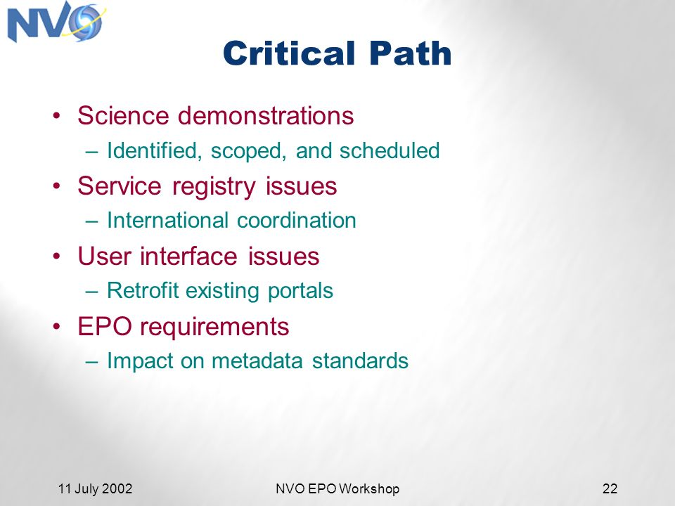 11 July 2002NVO EPO Workshop22 Critical Path Science demonstrations –Identified, scoped, and scheduled Service registry issues –International coordination User interface issues –Retrofit existing portals EPO requirements –Impact on metadata standards