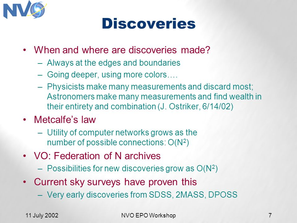11 July 2002NVO EPO Workshop7 Discoveries When and where are discoveries made.