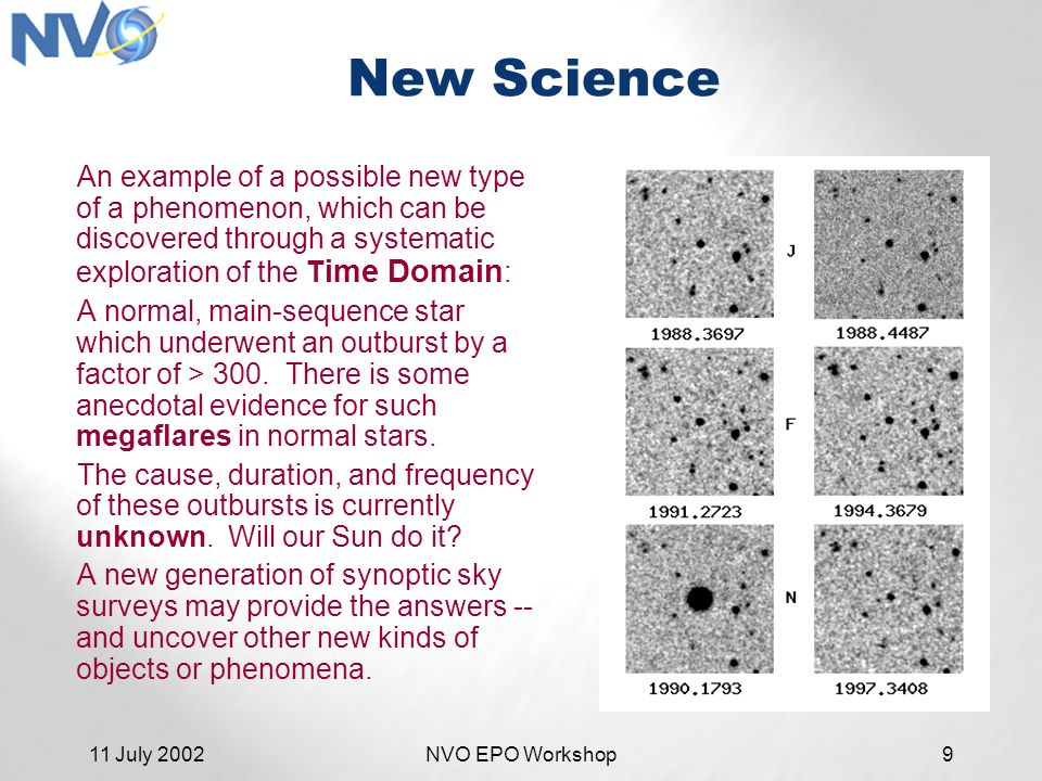 11 July 2002NVO EPO Workshop9 New Science An example of a possible new type of a phenomenon, which can be discovered through a systematic exploration of the T ime Domain : A normal, main-sequence star which underwent an outburst by a factor of > 300.