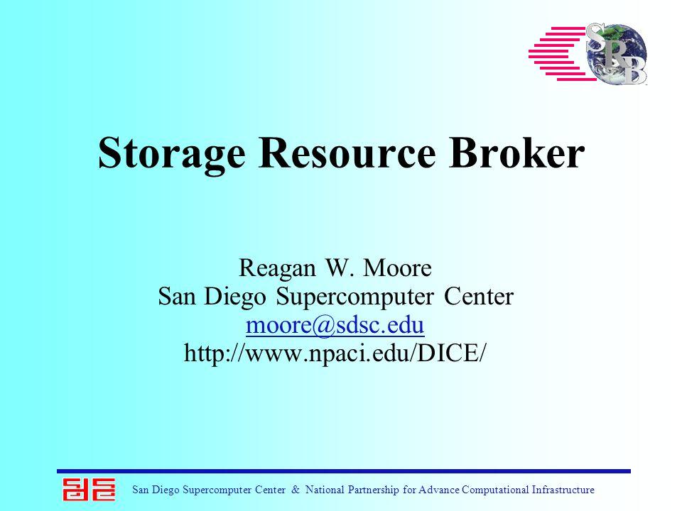 San Diego Supercomputer Center & National Partnership for Advance Computational Infrastructure Storage Resource Broker Reagan W. Moore San Diego Super