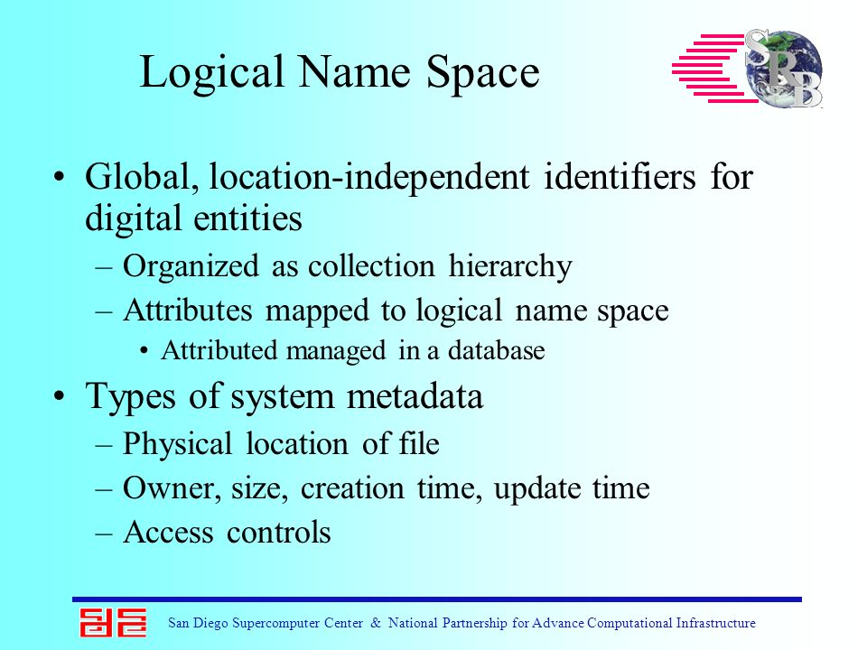 San Diego Supercomputer Center & National Partnership for Advance Computational Infrastructure Logical Name Space Global, location-independent identif