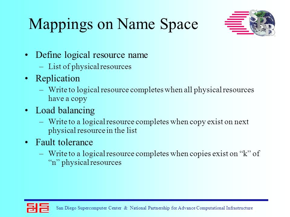San Diego Supercomputer Center & National Partnership for Advance Computational Infrastructure Mappings on Name Space Define logical resource name –Li