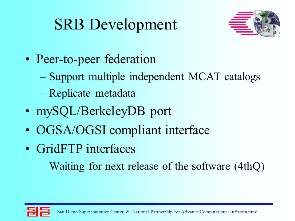 San Diego Supercomputer Center & National Partnership for Advance Computational Infrastructure SRB Development Peer-to-peer federation –Support multip
