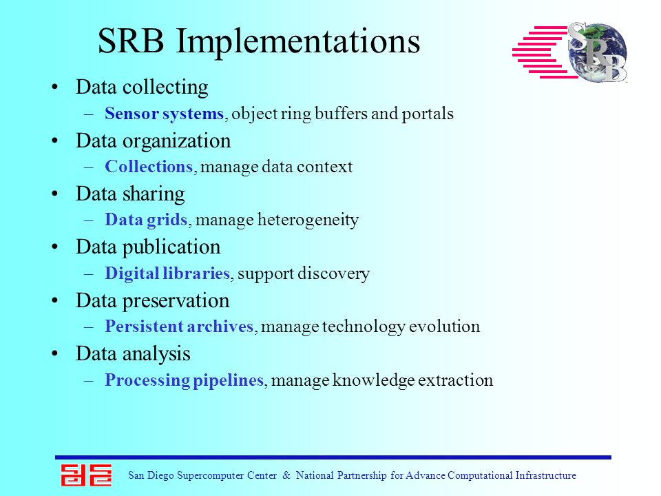 San Diego Supercomputer Center & National Partnership for Advance Computational Infrastructure SRB Implementations Data collecting –Sensor systems, ob
