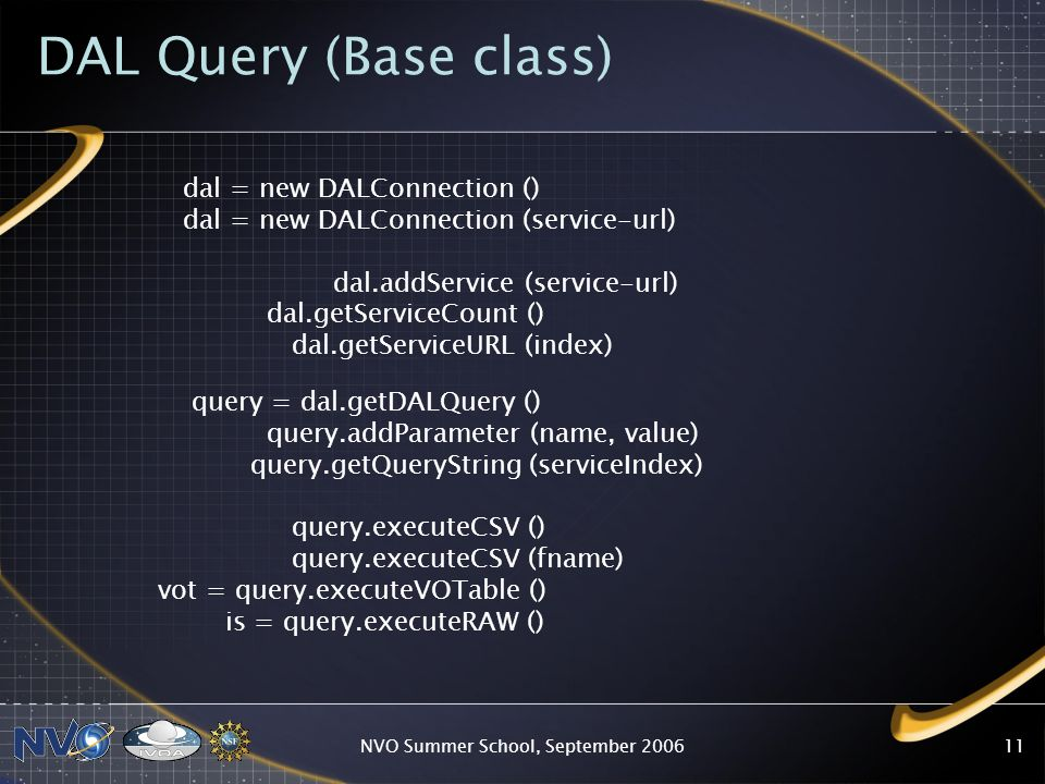 NVO Summer School, September 200611 DAL Query (Base class) dal = new DALConnection () dal = new DALConnection (service-url) dal.addService (service-url) dal.getServiceCount () dal.getServiceURL (index) query = dal.getDALQuery () query.addParameter (name, value) query.getQueryString (serviceIndex) query.executeCSV () query.executeCSV (fname) vot = query.executeVOTable () is = query.executeRAW ()