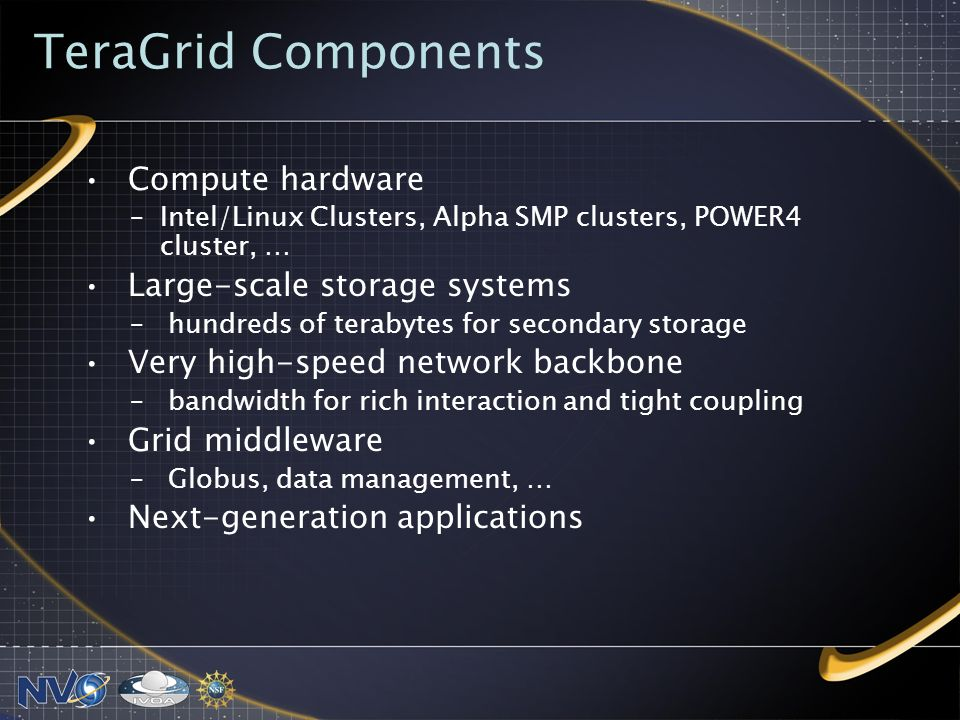 TeraGrid Components Compute hardware –Intel/Linux Clusters, Alpha SMP clusters, POWER4 cluster, … Large-scale storage systems – hundreds of terabytes for secondary storage Very high-speed network backbone – bandwidth for rich interaction and tight coupling Grid middleware – Globus, data management, … Next-generation applications