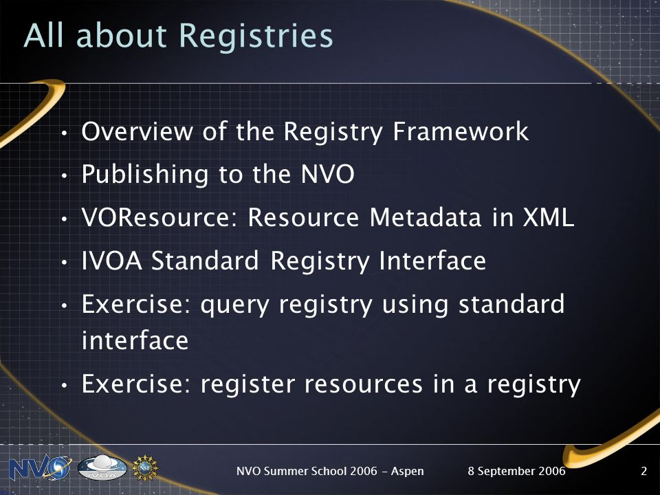 8 September 2006NVO Summer School Aspen2 All about Registries Overview of the Registry Framework Publishing to the NVO VOResource: Resource Metadata in XML IVOA Standard Registry Interface Exercise: query registry using standard interface Exercise: register resources in a registry