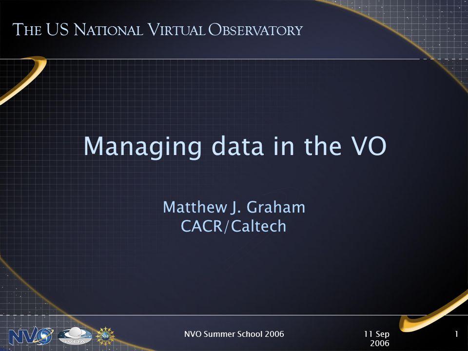 11 Sep 2006 NVO Summer School 20061 Managing data in the VO Matthew J.