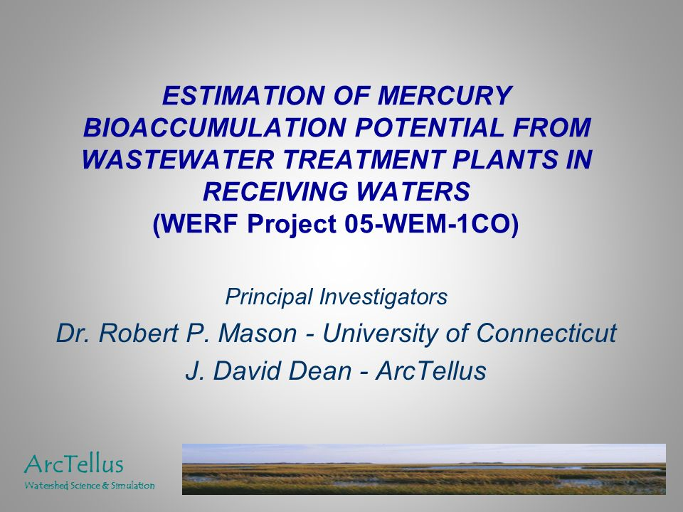 ESTIMATION OF MERCURY BIOACCUMULATION POTENTIAL FROM WASTEWATER TREATMENT PLANTS IN RECEIVING WATERS (WERF Project 05-WEM-1CO) Principal Investigators Dr.