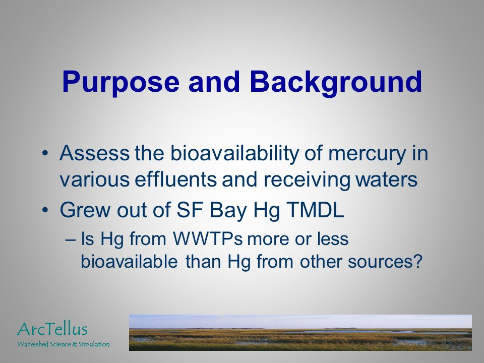 Status Bioavailability defined Enhancers/Mitigators identified Source profiles developed –MeHg and RHg (where possible) –Enhancers/Mitigators Effluent bioavailability estimation/ranking procedure completed/tested on Sacramento River data set Phase I report completed ArcTellus Watershed Science & Simulation