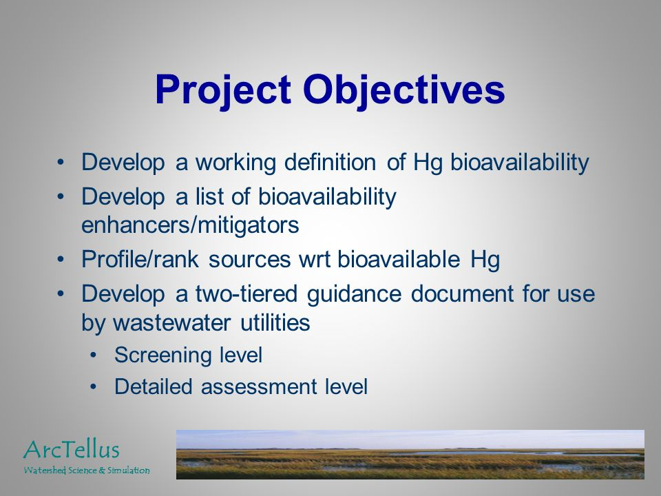 Project Objectives Develop a working definition of Hg bioavailability Develop a list of bioavailability enhancers/mitigators Profile/rank sources wrt bioavailable Hg Develop a two-tiered guidance document for use by wastewater utilities Screening level Detailed assessment level ArcTellus Watershed Science & Simulation