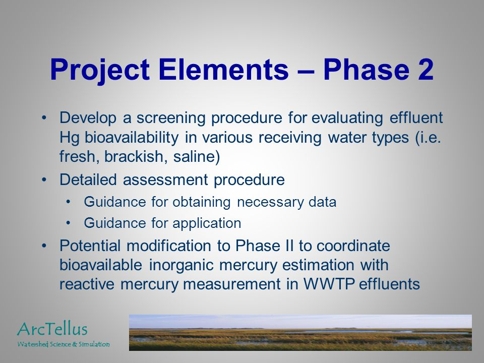Project Elements – Phase 2 Develop a screening procedure for evaluating effluent Hg bioavailability in various receiving water types (i.e.