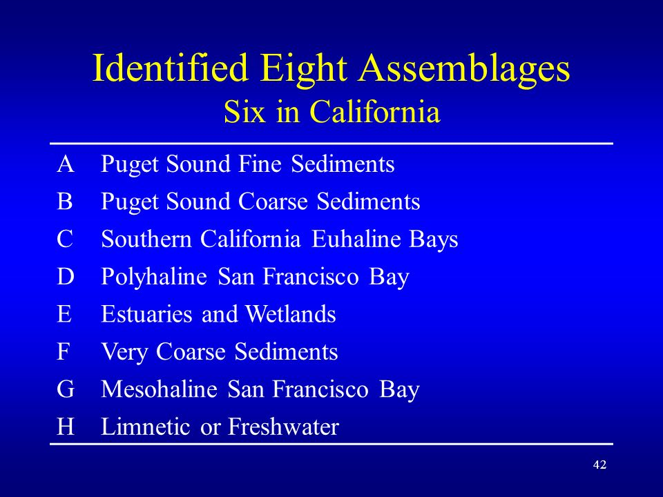 42 Identified Eight Assemblages Six in California APuget Sound Fine Sediments BPuget Sound Coarse Sediments CSouthern California Euhaline Bays DPolyhaline San Francisco Bay EEstuaries and Wetlands FVery Coarse Sediments GMesohaline San Francisco Bay HLimnetic or Freshwater