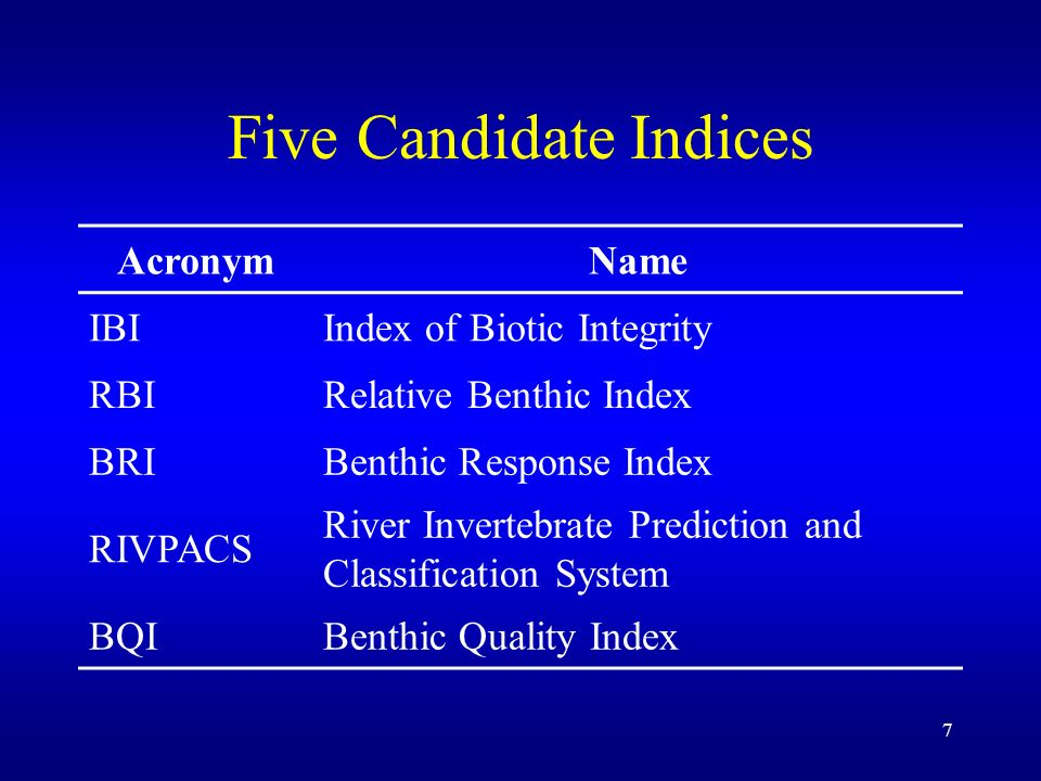 7 Five Candidate Indices AcronymName IBIIndex of Biotic Integrity RBIRelative Benthic Index BRIBenthic Response Index RIVPACS River Invertebrate Prediction and Classification System BQIBenthic Quality Index