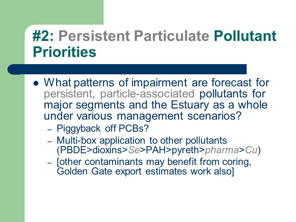#2: Persistent Particulate Pollutant Priorities What patterns of impairment are forecast for persistent, particle-associated pollutants for major segments and the Estuary as a whole under various management scenarios.