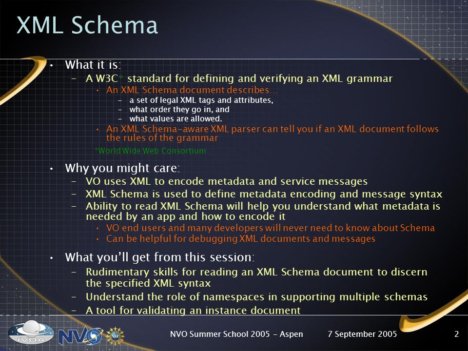 7 September 2005NVO Summer School Aspen2 XML Schema What it is: –A W3C* standard for defining and verifying an XML grammar An XML Schema document describes… –a set of legal XML tags and attributes, –what order they go in, and –what values are allowed.