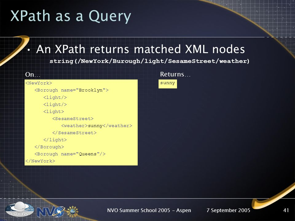 7 September 2005NVO Summer School Aspen41 XPath as a Query An XPath returns matched XML nodes string(/NewYork/Burough/light/SesameStreet/weather) On… sunny Returns… sunny