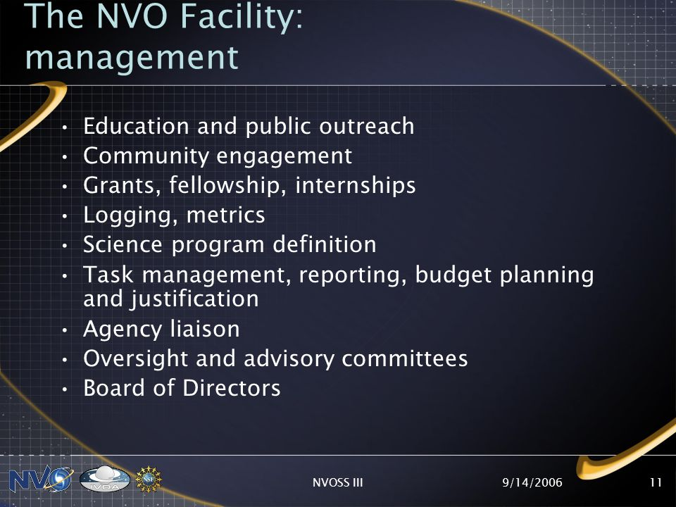 9/14/2006NVOSS III11 The NVO Facility: management Education and public outreach Community engagement Grants, fellowship, internships Logging, metrics Science program definition Task management, reporting, budget planning and justification Agency liaison Oversight and advisory committees Board of Directors