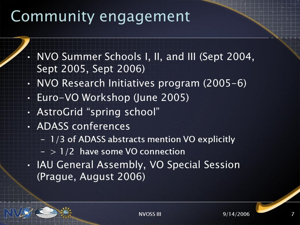 9/14/2006NVOSS III7 Community engagement NVO Summer Schools I, II, and III (Sept 2004, Sept 2005, Sept 2006) NVO Research Initiatives program (2005-6) Euro-VO Workshop (June 2005) AstroGrid spring school ADASS conferences –1/3 of ADASS abstracts mention VO explicitly –> 1/2 have some VO connection IAU General Assembly, VO Special Session (Prague, August 2006)