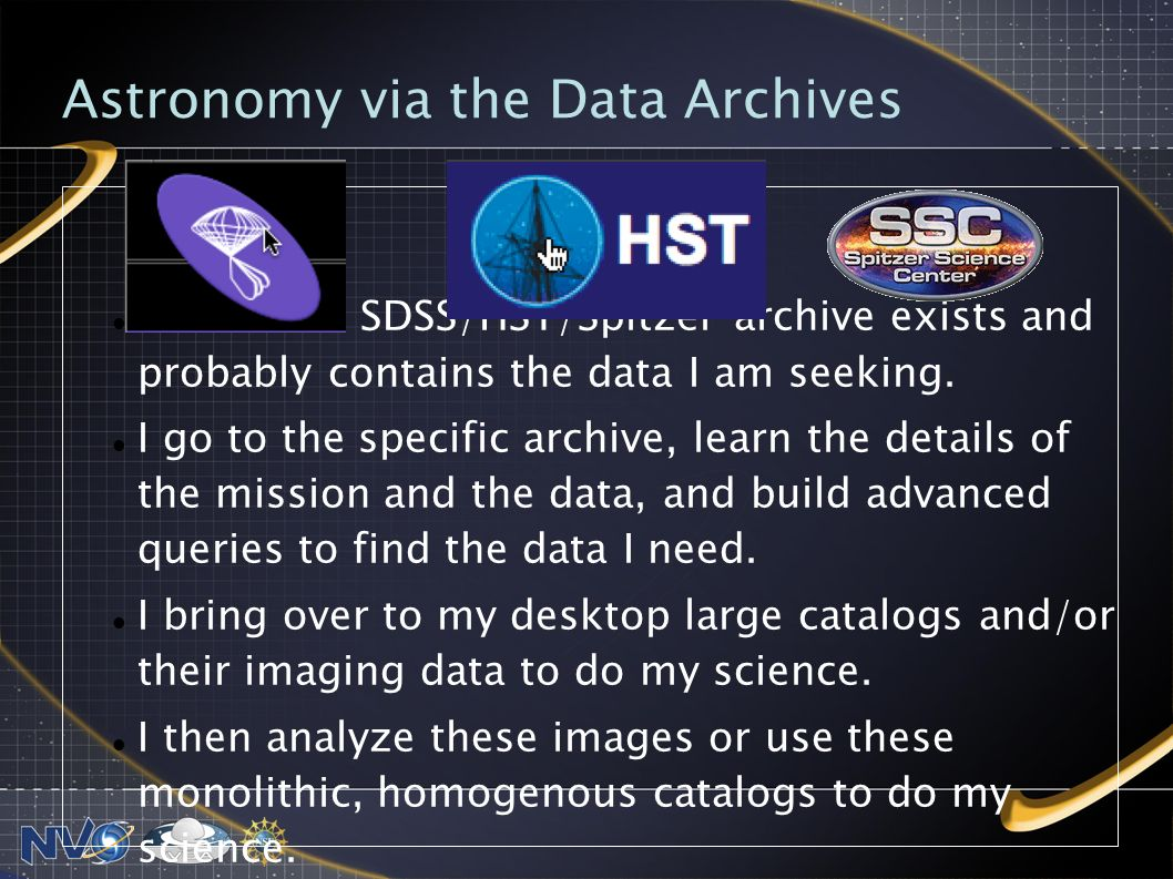 Astronomy via the Data Archives I know the SDSS/HST/Spitzer archive exists and probably contains the data I am seeking.