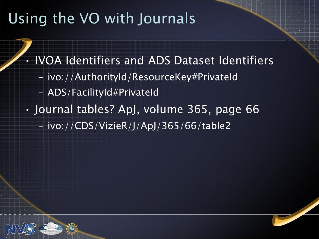 Using the VO with Journals IVOA Identifiers and ADS Dataset Identifiers –ivo://AuthorityId/ResourceKey#PrivateId –ADS/FacilityId#PrivateId Journal tables.
