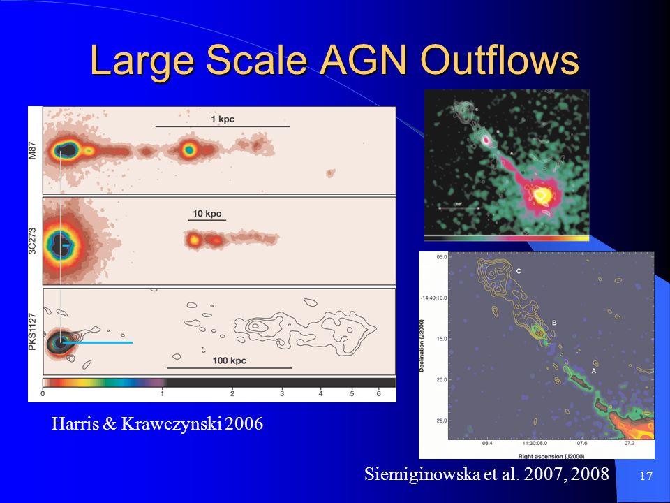 17 Large Scale AGN Outflows Harris & Krawczynski 2006 Siemiginowska et al. 2007, 2008