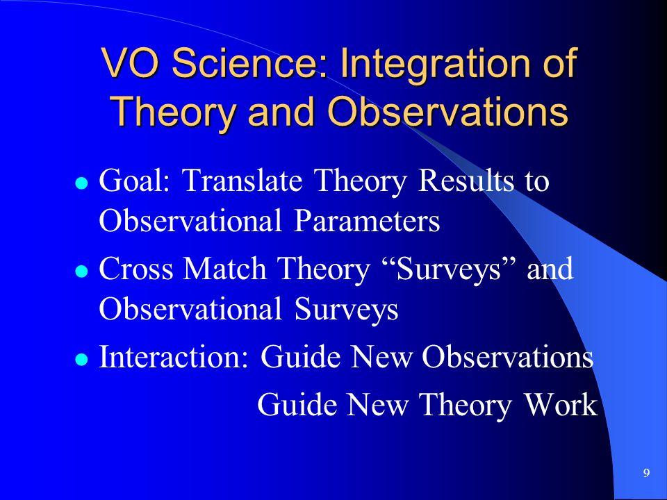 9 VO Science: Integration of Theory and Observations Goal: Translate Theory Results to Observational Parameters Cross Match Theory Surveys and Observational Surveys Interaction: Guide New Observations Guide New Theory Work