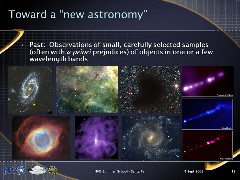 3 Sept 2008NVO Summer School - Santa Fe12 Toward a new astronomy Past: Observations of small, carefully selected samples (often with a priori prejudices) of objects in one or a few wavelength bands