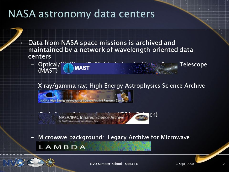 3 Sept 2008NVO Summer School - Santa Fe3 NASA active missions Active NASA missions provide direct data services –Hubble Space Telescope, STScI, integrated with MAST –Hubble Legacy Archive –Chandra X-ray Center –GLAST (Gamma-ray Large Area Space Telescope)