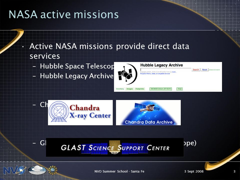 3 Sept 2008NVO Summer School - Santa Fe14 Toward a new astronomy Discovering new phenomena and patterns in these datasets will require simultaneous access to multi-wavelength archives, advanced visualization and statistical analysis tools