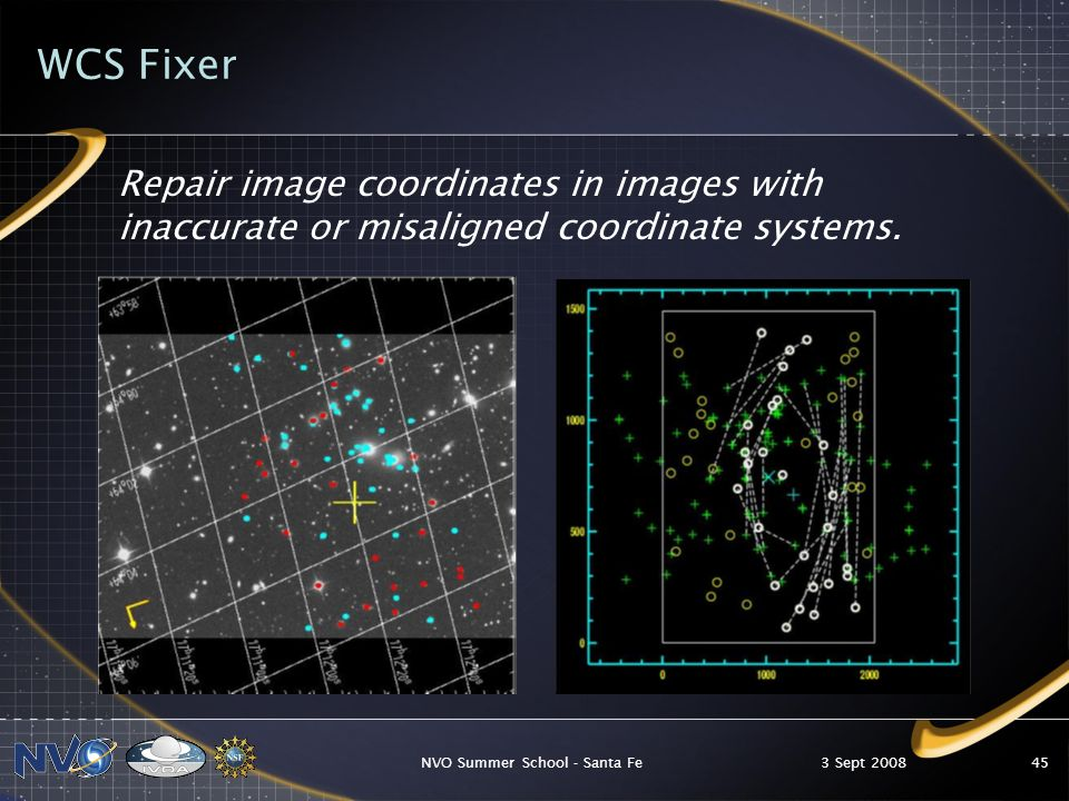 3 Sept 2008NVO Summer School - Santa Fe45 WCS Fixer Repair image coordinates in images with inaccurate or misaligned coordinate systems.