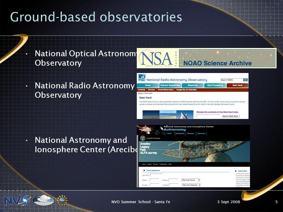 3 Sept 2008NVO Summer School - Santa Fe6 Surveys Sloan Digital Sky Survey (SDSS) Guide Star Catalog and Digitized Sky Survey (GSC and DSS, in MAST) 2 Micron All Sky Survey (2MASS, at IRSA)