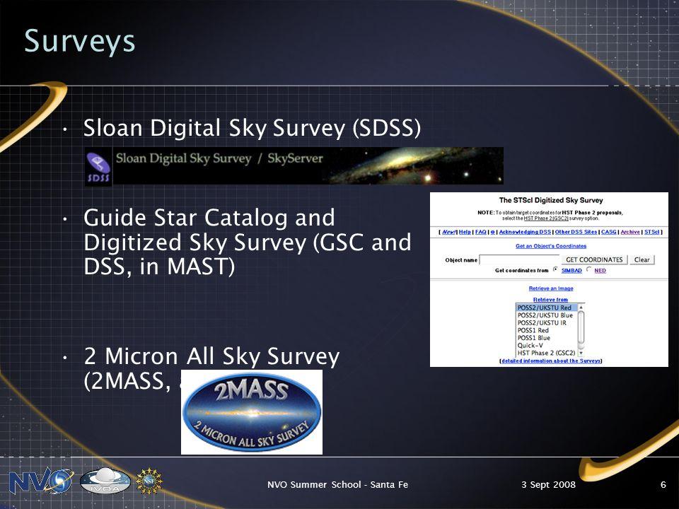 3 Sept 2008NVO Summer School - Santa Fe47 Montage Mosaics Make mosaics from 2MASS, DPOSS, or SDSS images.