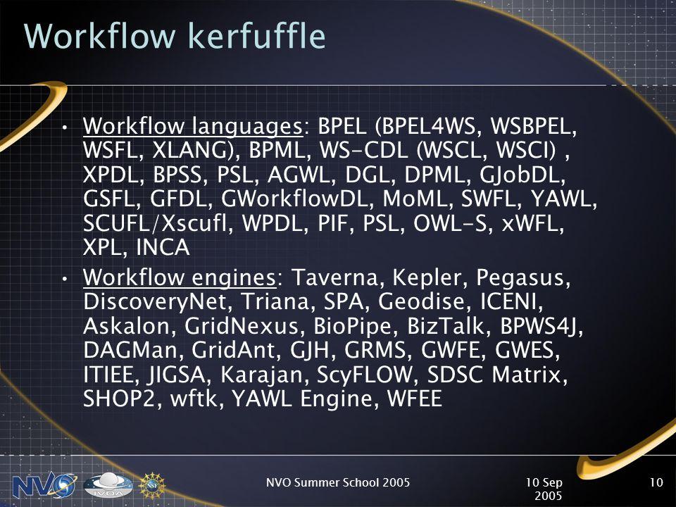 10 Sep 2005 NVO Summer School 200510 Workflow kerfuffle Workflow languages: BPEL (BPEL4WS, WSBPEL, WSFL, XLANG), BPML, WS-CDL (WSCL, WSCI), XPDL, BPSS, PSL, AGWL, DGL, DPML, GJobDL, GSFL, GFDL, GWorkflowDL, MoML, SWFL, YAWL, SCUFL/Xscufl, WPDL, PIF, PSL, OWL-S, xWFL, XPL, INCA Workflow engines: Taverna, Kepler, Pegasus, DiscoveryNet, Triana, SPA, Geodise, ICENI, Askalon, GridNexus, BioPipe, BizTalk, BPWS4J, DAGMan, GridAnt, GJH, GRMS, GWFE, GWES, ITIEE, JIGSA, Karajan, ScyFLOW, SDSC Matrix, SHOP2, wftk, YAWL Engine, WFEE