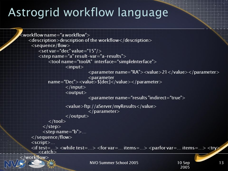 10 Sep 2005 NVO Summer School 200513 Astrogrid workflow language description of the workflow 21 ${dec} ftp://aServer/myResults … …