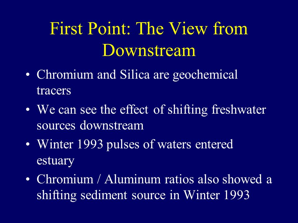 Second Point: The View from Downstream The story of mercury in California is recorded in the sediments Sand Clay Mercury in Sediment Current Background Sources Historic Baseline