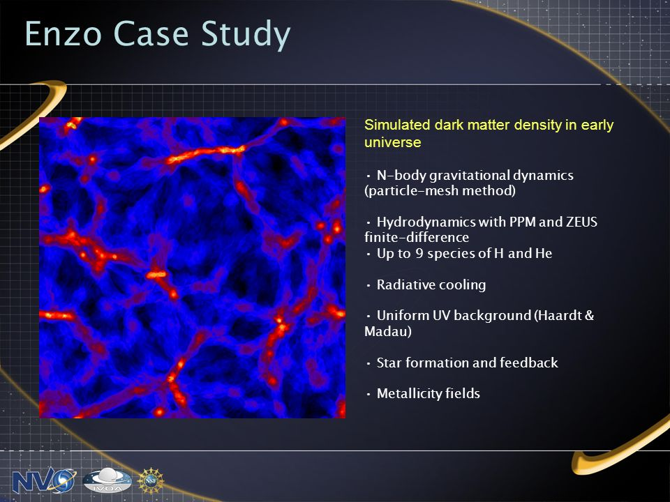 Enzo Case Study Simulated dark matter density in early universe N-body gravitational dynamics (particle-mesh method) Hydrodynamics with PPM and ZEUS finite-difference Up to 9 species of H and He Radiative cooling Uniform UV background (Haardt & Madau) Star formation and feedback Metallicity fields
