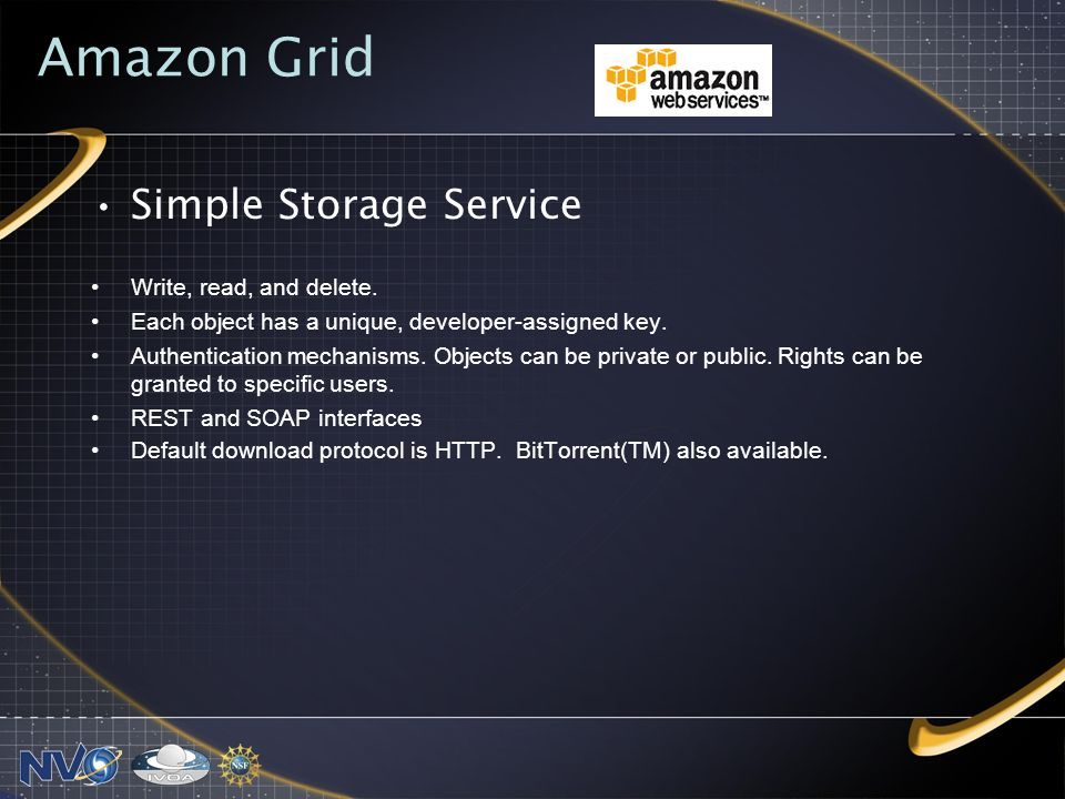 Amazon Grid Simple Storage Service Write, read, and delete.