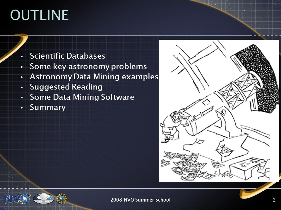 2008 NVO Summer School2 OUTLINE Scientific Databases Some key astronomy problems Astronomy Data Mining examples Suggested Reading Some Data Mining Sof